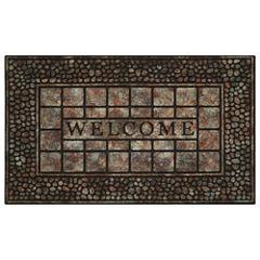 Achim Pebble Squares Rectangular Doormat