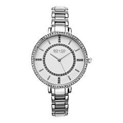SO & CO Ny Women's Soho Stainless Steel Thin Bracelet Crystal Filled Bezel Dress Quartz Watch J155P41