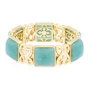 Monet® Green Stone Gold-Tone Stretch Bracelet