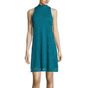 City Triangles® Sleeveless Lace A-Line Dress- Juniors