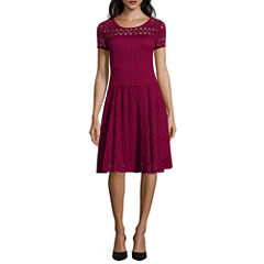 Perceptions Short-Sleeve Lace Fit-and-Flare Dress