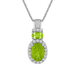 Genuine Peridot And Lab Created White Sapphire Sterling Silver Pendant