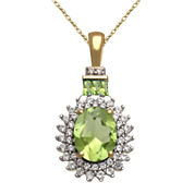 Genuine Peridot And Lab Created White Sapphire Pendant In 14K Gold Over Silver