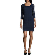 Ronni Nicole 3/4 Sleeve Sheath Dress-Petites