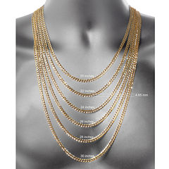 14K White Gold Glitter 1.8mm Rope Chain Necklace