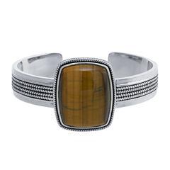 Womens Brown Tiger's Eye Cuff Bracelet