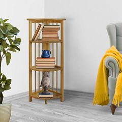 Folding 4-Shelf Corner Bookcase