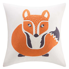 INK+IVY Kids Foxy Square Embroidered Decorative Pillow