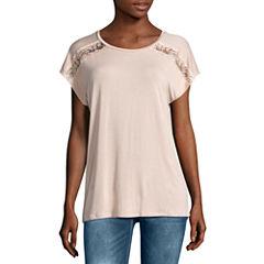 Buffalo Jeans Short Sleeve Round Neck T-Shirt-Womens