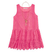 Self Esteem® Allover Lace Peplum Tank Top with Necklace - Girls 7-16