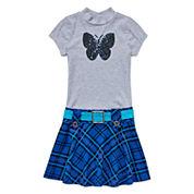 Lilt Short-Sleeve Plaid Marsha Sequin Butterfly Dress - Girls 7-16