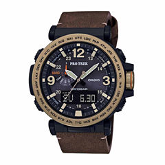 Casio Pro Trek Mens Brown Strap Watch-Prg600yl-5cr