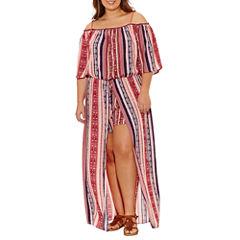 City Triangle Elbow Sleeve Maxi Dress-Juniors Plus