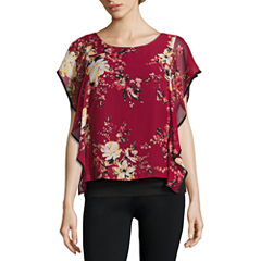 Alyx Floral Print Cascade Popover Top