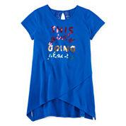 Total Girl® Short-Sleeve Sharkbite Tunic - Girls 7-16 and Plus