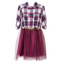 Arizona Belted 3/4 Sleeve Roll Tab Sleeve Shirt Dress - Big Kid Girls