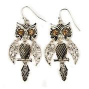 Decree® Glass Stone Silver-Tone Owl Drop Earrings