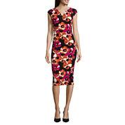 Weslee Rose Cap-Sleeve Printed Bodycon Dress