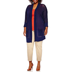 Stylus™ Mesh Cardigan, Tank Top or Crossover Ankle Pants - Plus
