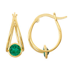 Lab-Created Emerald 14K Gold Over Silver Hoop Earrings