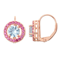 Lab-Created Aquamarine & Ruby 14K Rose Gold Over Silver Leverback Earrings