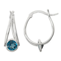 Genuine London Blue Topaz Sterling Silver Hoop Earrings