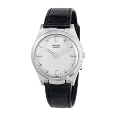 Seiko® Mens Stainless Steel Leather Strap Braille Watch S23159