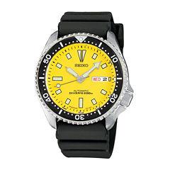 Seiko® Mens Yellow Stainless Steel Dive Watch SKXA35
