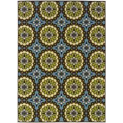 Covington Home Floral Medallion Blue Indoor/Outdoor Rectangular Rug