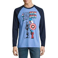 Novelty Season Long Sleeve Captain America Graphic T-Shirt