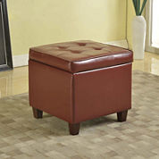 Morena Faux-Leather Storage Ottoman