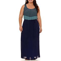 Robbie Bee Sleeveless Stripe Maxi Dress-Plus