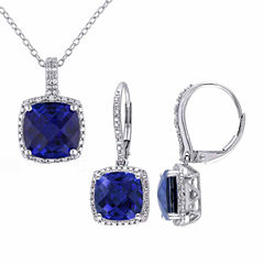 Womens 2-pc. 1/3 CT. T.W. Blue Sapphire Sterling Silver Jewelry Set
