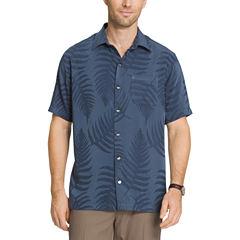 Van Heusen Short Sleeve Jacquard Leaf Print Button-Front Shirt