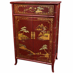 Oriental Furniture Japanese Crackled Accent Cabinet