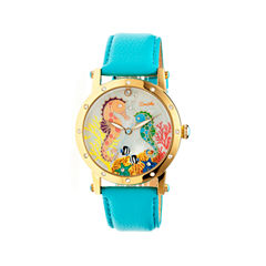 Bertha Morgan Womens Mother Of Pearl Dial Turquoise Leather Strap Watch Bthbr4203