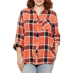 Arizona Long Sleeve Boyfriend Plaid Shirt-Juniors Plus