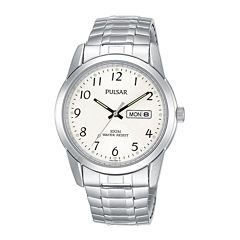 Pulsar® Mens Silver-Tone Expansion Watch PJ6051