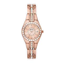 Relic® Womens Crystal-Accent Rose-Tone Bracelet Watch ZR12163