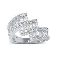 Cubic Zirconia Silver-Plated 3-Row Ring