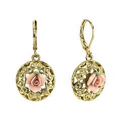 1928® Jewelry Pink Rose Gold-Tone Drop Earrings