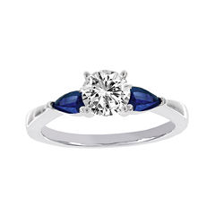 Lumastar 5/8 CT. T.W. Diamond & Blue Sapphire 18K White Gold Bridal Ring