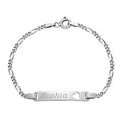 Girls Sterling Silver Personalized Name ID Bracelet
