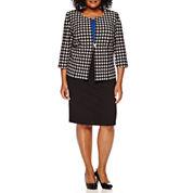 Danny & Nicole® 3/4-Sleeve Houndstooth Jacket Dress - Plus