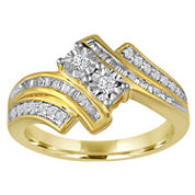 1/3Cttw Diamond 2 Stone Ring In 14K Gold Over Silver
