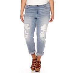 Boutique+ Destructed Boyfriend Denim Jeans - Plus