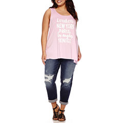 Boutique+ Sleeveless Graphic Tee or Destructed Boyfriend Jeans - Plus