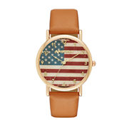 Arizona Womens Gold Tone American Flag Dial Brown Strap Watch