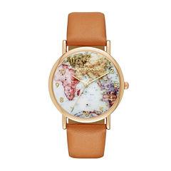 Arizona Womens Gold Tone Map Dial Brown Strap Watch