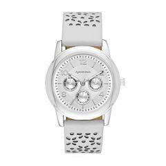 Arizona Womens Silver Tone White And Gray Strap Watch